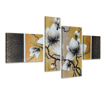 SALE Blume M10 - Leinwandbild 4 teilig 120x70cm Handgemalt – Bild 1