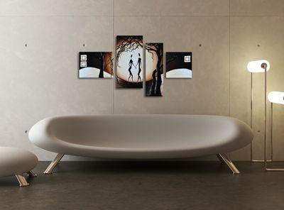 SALE Abstrakt M12 - Leinwandbild 4 teilig 120x70cm Handgemalt – Bild 4