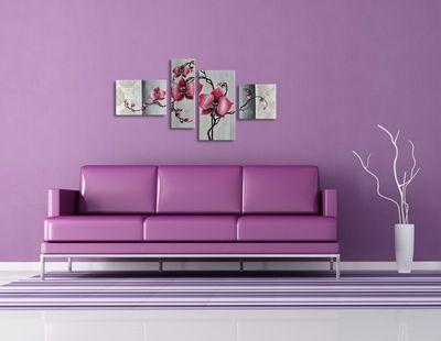 Blume M6 - Leinwandbild 4 teilig 120x70cm Handgemalt – Bild 4