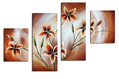Blütenmotiv M4 - Leinwandbild 4 teilig 120x80cm Handgemalt – Bild 2