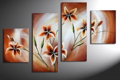 Blütenmotiv M4 - Leinwandbild 4 teilig 120x80cm Handgemalt – Bild 3
