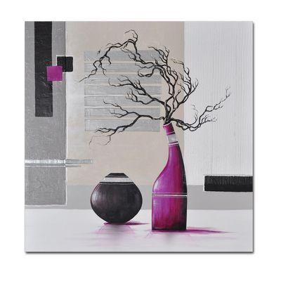 Abstrakte Kunst M2 handgemaltes Leinwandbild 80x80cm - 4cm Galerierahmen! - 802 – Bild 1