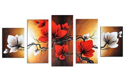 Blumen M3- Leinwandbild 5 teilig 150x70cm Handgemalt – Bild 2