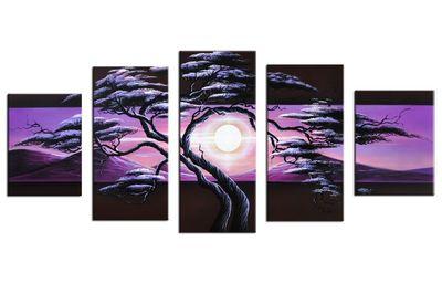 Baum M5 - Leinwandbild 5 teilig 150x70cm Handgemalt – Bild 2
