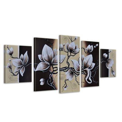 Blumen M2 - Leinwandbild 5 teilig 150x70cm Handgemalt – Bild 1
