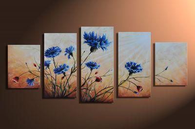 SALE Blumen M1 - Leinwandbild 5 teilig 150x70cm Handgemalt – Bild 3