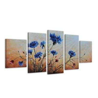 SALE Blumen M1 - Leinwandbild 5 teilig 150x70cm Handgemalt – Bild 1