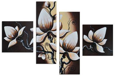 Blumen M1 - Leinwandbild 4 teilig 100x70cm Handgemalt – Bild 2