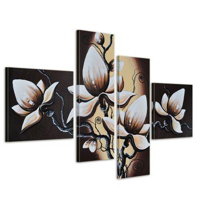 Blumen M1 - Leinwandbild 4 teilig 100x70cm Handgemalt – Bild 1