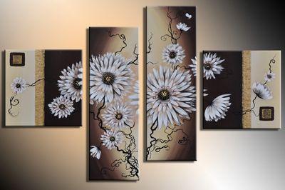 Blumen M2 - Leinwandbild 4 teilig 100x70cm Handgemalt – Bild 3