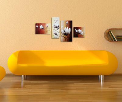 Magnolie M13 - Leinwandbild 4 teilig 120x70cm Handgemalt – Bild 4
