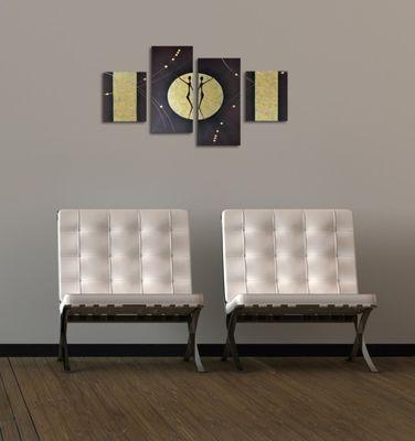Abstrakte Kunst M10 - Leinwandbild 4 teilig 120x80cm Handgemalt – Bild 4