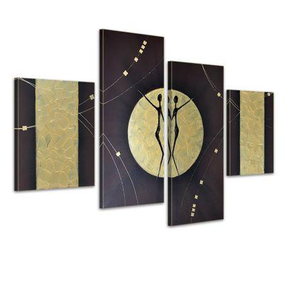 SALE Abstrakte Kunst M10 - Leinwandbild 4 teilig 120x80cm Handgemalt – Bild 1