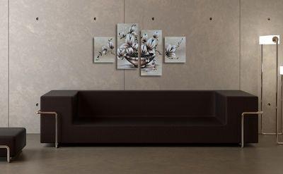 SALE Blumen M16 - Leinwandbild 4 teilig 120x70cm Handgemalt – Bild 4