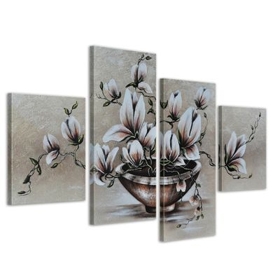Blumen M16 - Leinwandbild 4 teilig 120x70cm Handgemalt – Bild 1