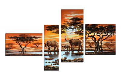Elefanten M1 - Leinwandbild 4 teilig 140x80cm Handgemalt – Bild 2