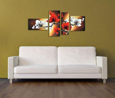 Blumen M5 - Leinwandbild 4 teilig 140x80cm Handgemalt – Bild 4