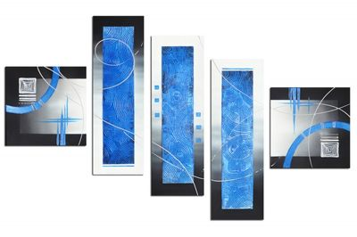 Abstrakte Kunst M9 - Leinwandbild 4 teilig 120x70cm Handgemalt – Bild 2