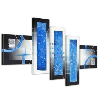 Abstrakte Kunst M9 - Leinwandbild 4 teilig 120x70cm Handgemalt – Bild 1