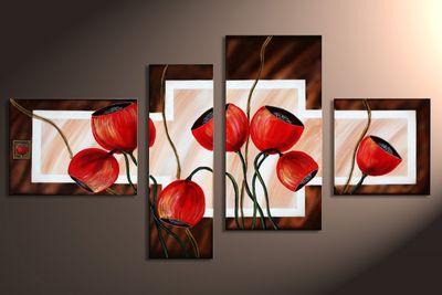 Blütenmotiv M7 - Leinwandbild 4 teilig 120x70cm Handgemalt – Bild 3