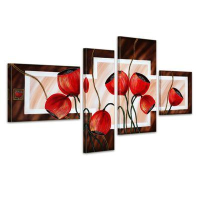 Blütenmotiv M7 - Leinwandbild 4 teilig 120x70cm Handgemalt – Bild 1