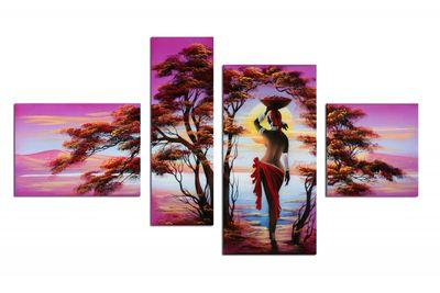 African Dreams M2 - Leinwandbild 4 teilig 120x70cm Handgemalt – Bild 2
