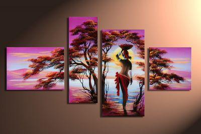 SALE African Dreams M2 - Leinwandbild 4 teilig 120x70cm Handgemalt – Bild 3