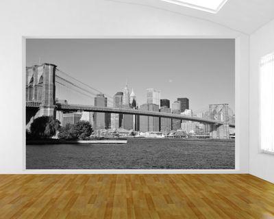 Fototapete Brücke New York - schwarz weiss – Bild 1