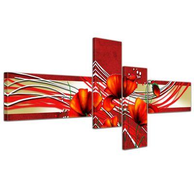 Abstrakte Kunst Mohn - 200x90cm 4 teilig  – Bild 4