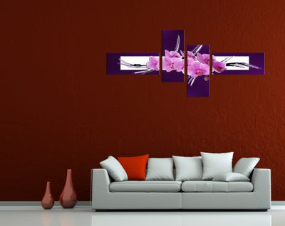 Abstrakte Kunst Orchidee - 200x90cm 4 teilig  – Bild 3
