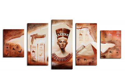 Ägypten Pyramide - Leinwandbild 5 teilig 150x70cm Handgemalt – Bild 2