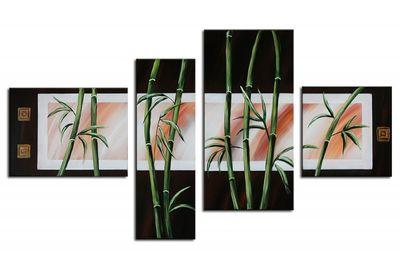 Bambus M1 - Leinwandbild 4 teilig 120x70cm Handgemalt – Bild 2