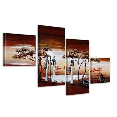 Afrika 1 - Leinwandbild 4 teilig 80x50cm Handgemalt – Bild 1