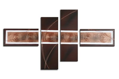 SALE Abstrakt M7 - Leinwandbild 4 teilig 120x70cm Handgemalt – Bild 2