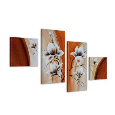 Magnolien 2 - Leinwandbild 4 teilig 80x50cm Handgemalt