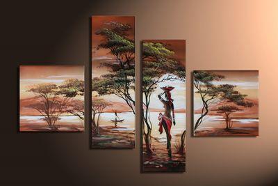 African Dreams M1 - Leinwandbild 4 teilig 100x70cm Handgemalt – Bild 3