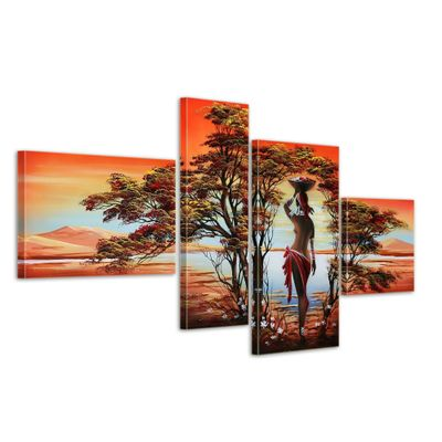 African Dreams M1 - Leinwandbild 4 teilig 120x70cm Handgemalt