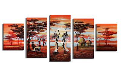 African Life M2 - Leinwandbild 5 teilig 150x70cm Handgemalt – Bild 2