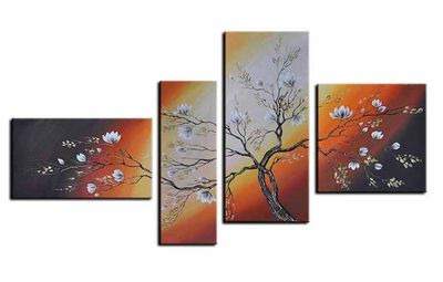 Blütenmotiv M2 - Leinwandbild 4 teilig 140x80cm Handgemalt – Bild 2