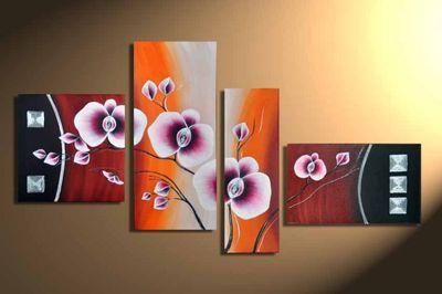 Blütenmotiv M1 - Leinwandbild 4 teilig 140x80cm Handgemalt