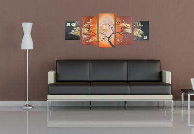 SALE Magnolie M5 - Leinwandbild 5 teilig 150x70cm Handgemalt – Bild 4