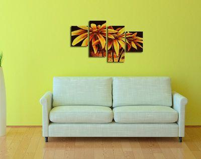 SALE Blume M1 - Leinwandbild 4 teilig 120x80cm Handgemalt – Bild 4
