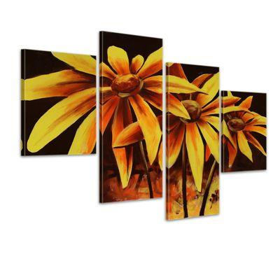 Blume M1 - Leinwandbild 4 teilig 120x80cm Handgemalt