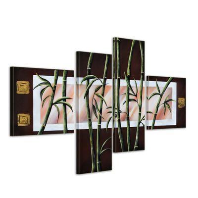 Bambus M1 - Leinwandbild 4 teilig 100x70cm Handgemalt