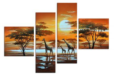 Giraffe Afrika M3 - Leinwandbild 4 teilig 100x70cm Handgemalt – Bild 2