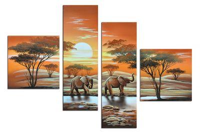 Elefant Afrika M3 - Leinwandbild 4 teilig 100x70cm Handgemalt – Bild 2