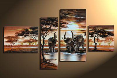 Elefant Afrika M5 - Leinwandbild 4 teilig 120x70cm Handgemalt – Bild 3