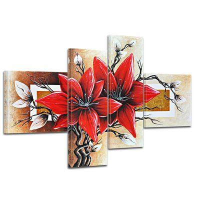 Wandbild Blumen M3 - 100x70cm 4 teilig  P216 – Bild 1