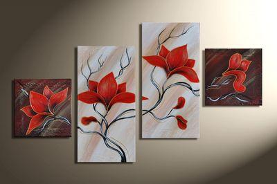 Magnolien 4 - Leinwandbild 4 teilig 80x50cm Handgemalt – Bild 3