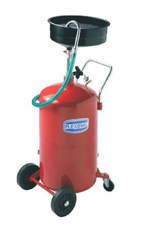 Fahrbarer Altösammler Kapazität 80l, höhenverstellbare Auffangschale aus Metall mit 10l Volumen, Druckluftentleerung des Behälters, 1,6m Schlauch mit Auslaufbogen